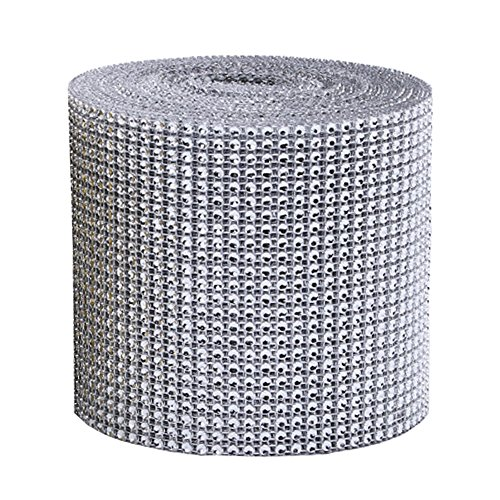 24 Reihen 9 M/Rolle Strassband Acrylic Rhinestone Diamant Band Dekoband Für Hochzeit Geburtstag Torte Gastgeschenkbox Verzierung Handwerk (Silber)