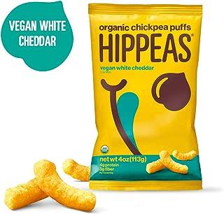 HIPPEAS Organic Chickpea Puffs + Vegan White Cheddar   4 ounce, 6 count   Vegan, Gluten-Free, Crunchy, Protein Snacks