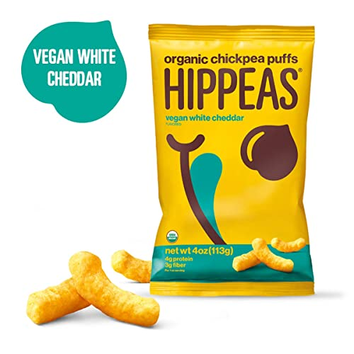 HIPPEAS Organic Chickpea Puffs + Vegan White Cheddar | 4 ounce | Vegan, Gluten-Free, Crunchy, Protein Snacks