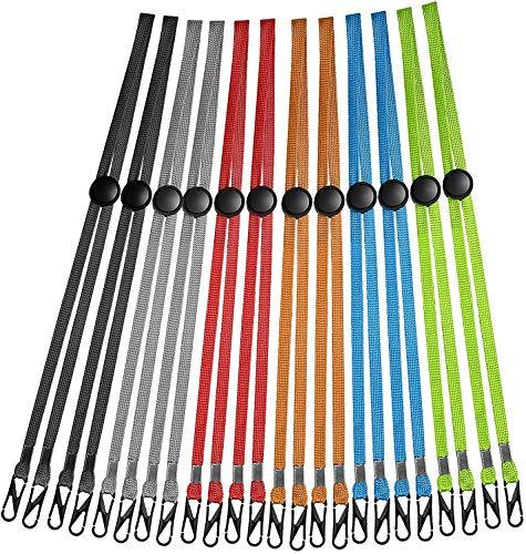 12er Pack - Lanyards, Lanyard mit einstellbarer Länge und Clip, Lanyard-Gurt für Kinder und Erwachsene, kann bequem am Hinterkopf oder am Nacken befestigt werden
