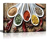 wall26 Canvas Prints Wall Art - Still Life Various of Spices on Rustic Wooden Table Food/Kitchen Concept | Modern Wall Decor/Home Decoration Stretched Gallery Canvas Wrap Giclee Print - 16' x 24'