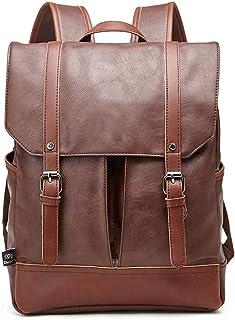 CLCCYYSJD Retro multifunción mochila de viaje, de cuero suave con cara impermeable y bolso de la computadora antirrobo de 14 pulgadas, de gran capacidad y Multi-bolsillo portátil bolsa de hombre, idea