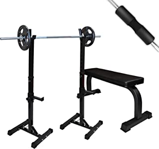 Squat Rack + Weight Bench Press Set - Home Gym Set - Weight Lifting Barbell Set Stand Home Gym Fitness Training Exercise