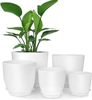 HOMENOTE Plastic Planter, 7/6/5.5/4.5/3.5 Inch Flower Pot Indoor Modern Decorative Plastic Pots for Plants with Drainage Hole and Tray for All House Plants, Succulents, Flowers, and Cactus, White