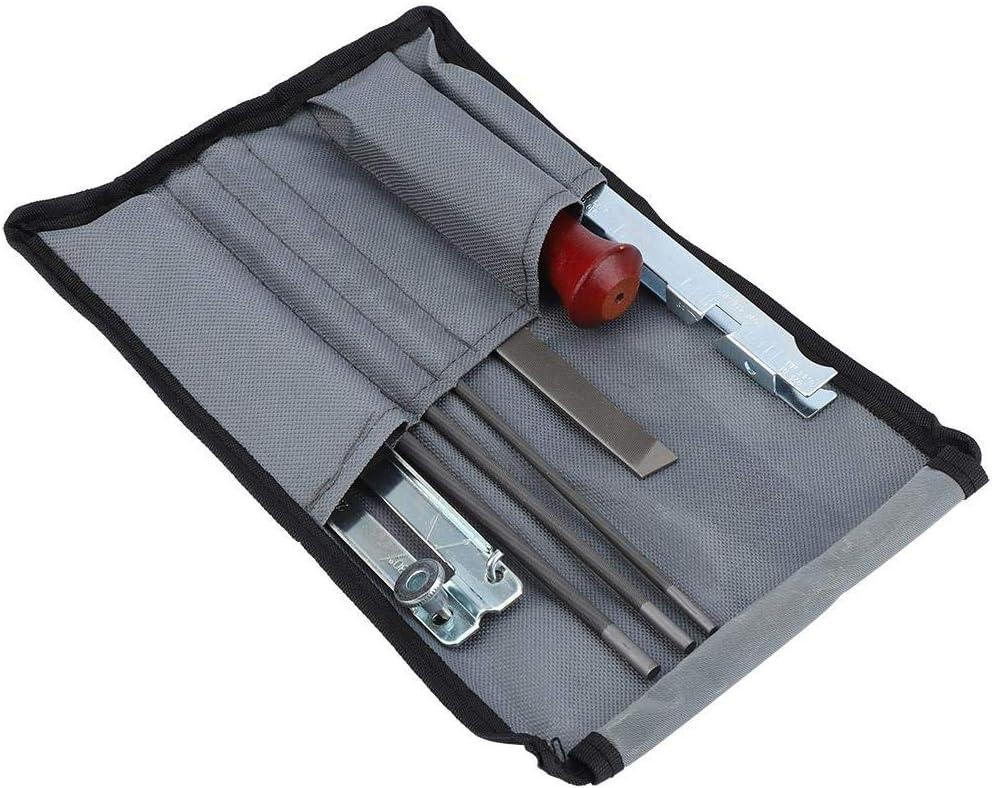 Herramienta de calibre de profundidad de centro de caída, de madera para lima, 8 piezas/juego de limas redondas, calibre de profundidad de motosierra con bolsa de almacenamiento, calibre