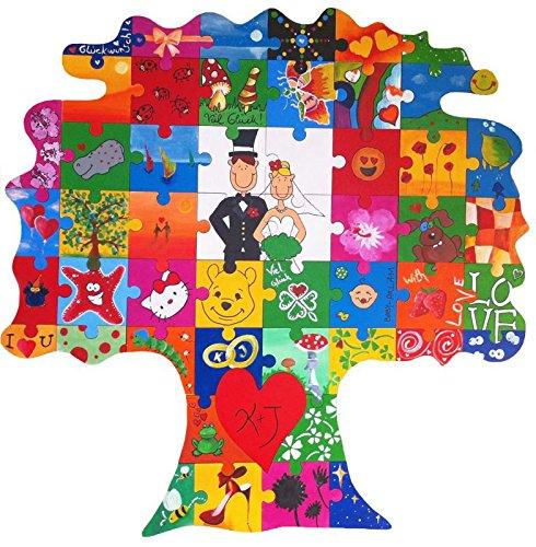 Geschenke 24 Holz Puzzle Baum zum Bemalen - originelle Hochzeitsgeschenke für Brautpaare - Hochzeitsgeschenk selbstgemacht für Braut und Bräutigam - mit Farben und Zubehör