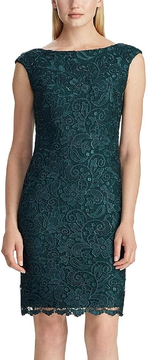 Ralph Lauren Lauren Women's Lace Sheath Dress, Dark Fern Green
