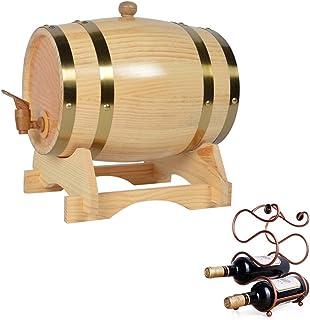 ZGQJT Tonneau en Chêne, Distributeur de Tonneaux à Vin en Bois Vintage 20L avec Porte-Bouteilles Vins, Spiritueux, Whisky,...