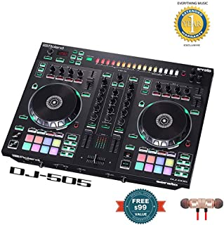 Roland DJ-505 2-Channel, 4-Deck DJ Controller for Serato DJ includes Free Wireless Earbuds - Stereo Bluetooth In-ear and 1 Year Everything Music Extended Warranty