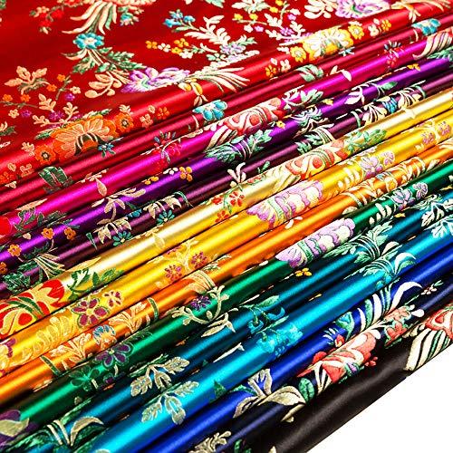 Satin Faux Seidenstoff Chinesisch Jahrgang Damast Brokatstoff Begonienblume Chinese Brocade Fabric zum Tasche Kostüm Tischdecke (Blauer See, Verkauft per Meter)