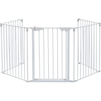 """Bonnlo 121-Inch Wide Metal Baby Safety Fence/Play Yard Adjustable Fireplace Hearth BBQ Fire Gate Christmas Tree Gate 5-Panel Playpen for Toddler/Pet/Puppy/Cat/Dog, 25.39""""W x 29.3"""" H Each Panel, White"""