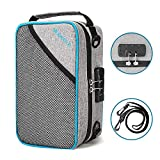 Smell Proof Bag, Smell Proof Container with 8 Layers of Thickened Carbon Lining, Smell Odor Proof Travel Storage Case with Combination Lock & Adjustable Shoulder Strap, 10 x 7 x 4.5 inch, Light Gray