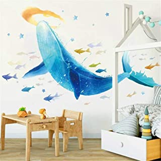 DERUN TRADING Ocean Nautical Deep Sea Decorative Peel & Stick Wall Art Sticker Decals Decor for Kids Rooms Under The Sea Fish Wall Decor Sea Animal Aqua Huge Blue Whale Decorations Underwater Cartoon