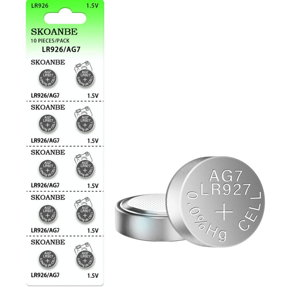 SKOANBE 10PCS LR926 SR927SW 1.5V AG7 399 395 395A LR57 Button Coin Cell Watch Battery