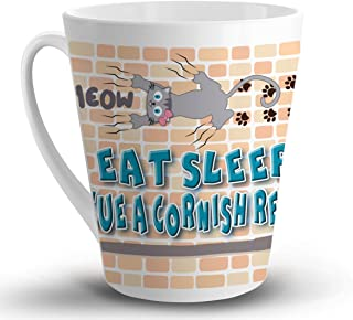 Makoroni - EAT SLEEP RESCUE A CORNISH REX CAT Cat Cats - 12 Oz. Unique LATTE MUG, Coffee Cup