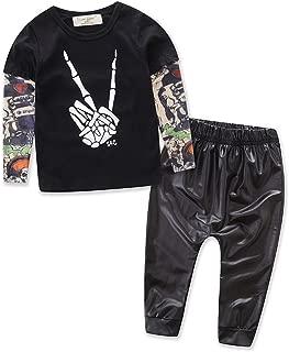 2pcs Newborn Baby Boys Black T-Shirt Tops+Leather Pants Outfits Set