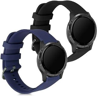 kwmobile 2X Pulsera Compatible con Garmin Vivoactive 4 (45 mm) - Brazalete de Silicona Negro/Azul Oscuro sin Fitness Tracker