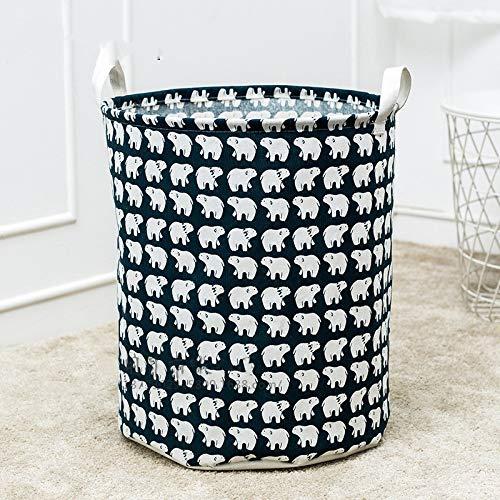 JiaxianGu3Je Großer Wäschekorb mit strapazierfähigem Griff Wasserdichter, runder Aufbewahrungskorb aus Baumwollleinen (Mehrfarbig) (Color : Polar Bear Pattern, Size : 35 * 44cm 42L)