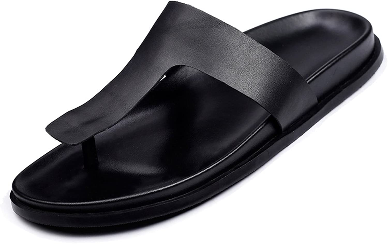 LIUXUEPING Summer Men's Sandals Flip Flops Men's Tide Leather Simple British Sandals Thick-Soled Slippers