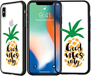 [Inkmodo] Clear TPU Case for iPhone Xs Max - Good Vibes Only Pineapple Quote Cool Summer Hipster Printed Unique Design Pattern Cover