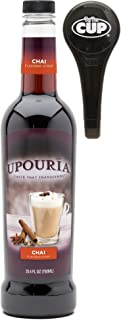 Upouria Chai Flavored Syrup, 100% Vegan and Gluten-Free, 750ml bottle - Pump included