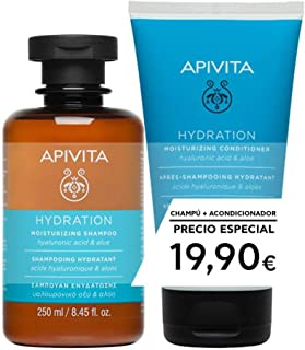 Apivita Pack Capilar Champú + Acondicionador Hidratante con ácido hialurónico & aloe 200ml
