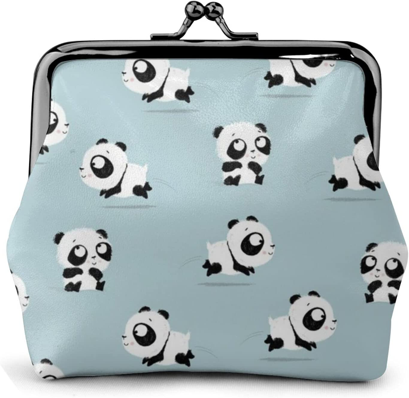 Cute Panda Pattern 1904 Leather Coin Purse Kiss Lock Change Pouch Vintage Clasp Closure Buckle Wallet Small Women Gift
