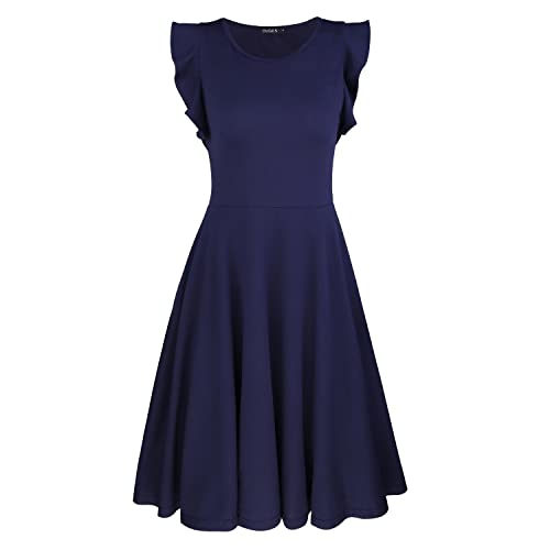 2013793db42b1 OUGES Women's Ruffles Cap Sleeve Casual Cotton Flare Dress