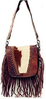 cowhide and fringe purse