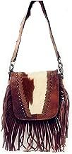 Western Genuine Leather Cowhide Fur Fringe Womens Crossbody Bag in 3 Colors