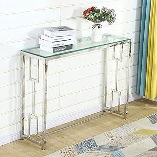 Table Console Table d'entrée Bacyion Table d'Appoint Bout de canapé, Dessus de Table en Verre trempé, Cadre métallique, Ro...