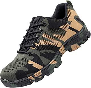 D DOLITY Steel Toe Work Shoes for Men Women Safety Shoes - Breathable - Industrial Construction Shoes, Puncture-Proof, 3 Colors 6 Sizes Available - Green-44