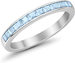 Blue Apple Co. 3mm Princess Cut Half Eternity Wedding Band Ring 925 Sterling Silver Simulated Stone Choose Color