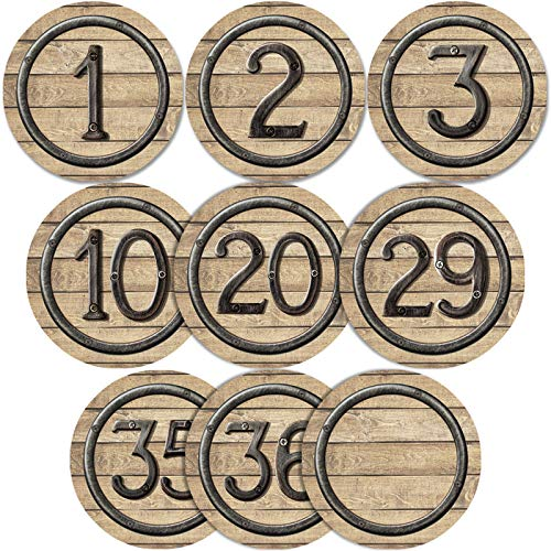 40 Pieces Laminated Industrial Chic Student Numbers Cutouts Circle Wood Grain Cutouts Bulletin Board Accents Cutouts with 40 Adhesive Glue Point Dots for Toddler Kids Preschool Classroom Decorations (Laminated Wood Seat)