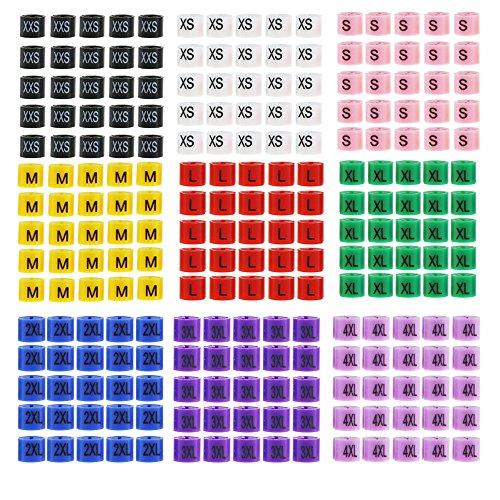 225 Piezas Percha mixta Perchas de tamaño Etiquetas de marcador Divisores de código de color 9 Tamaños XXS, XS, S, M, L, XL, 2XL, 3XL, 4XLSet (XXS - 4XL) para 2-4mm Diámetro de gancho de suspensión
