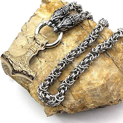 YANGFJcor Mjolnir Thors Hammer Necklace, Viking Men Cadena de Acero Inoxidable Punk Rock Goth Collares Pendientes Joyería de Amuleto de Estilo Antiguo, Regalo del día del Padre para niña,Oro,60cm