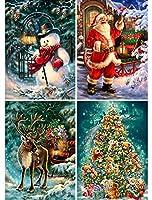 KISSBUTY フルドリル クリスマスダイヤモンドペイントキット DIYダイヤモンドラインストーンペイントキット 大人用 初心者ダイヤモンドアートクラフト ホーム装飾 15.8 X 11.8インチ (クリスマスサンタクロース雪だるま鹿)