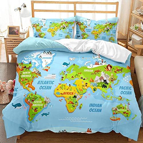 YMYGYR Mapa del Mundo Ropa de Cama con patrón de impresión 3D, Hermosa Funda nórdica Suave y cómoda, para Amigos a quienes Les Gusta la geografía-mi_220x240cm (3 Piezas)