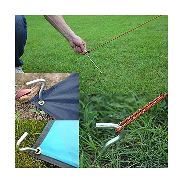 AAGUT Yard Tent Stakes Heavy Duty 9 Inch 25 Piece Galvanized Steel Tent Pegs Canopy Garden Stakes, 6Ga Metal Tent Ground…
