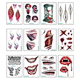 12 pegatinas de tatuaje impermeables para brazos, hombros, pecho, maquillaje ultra realista, diseño de calavera fantasmas para hombres y niños