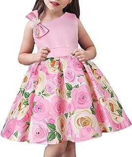 AGQT Mädchen Partykleid Elegante Blumenbogen Abend Abendkleider Prinzessin Flower Girl Brautkleid für Kinder 2-11T