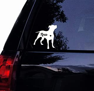 Tshirt Rocket Personalized Silhouette Pitbull Decal - Floppy Ear Pit Bull - Vinyl Car Decal Window Sticker (5