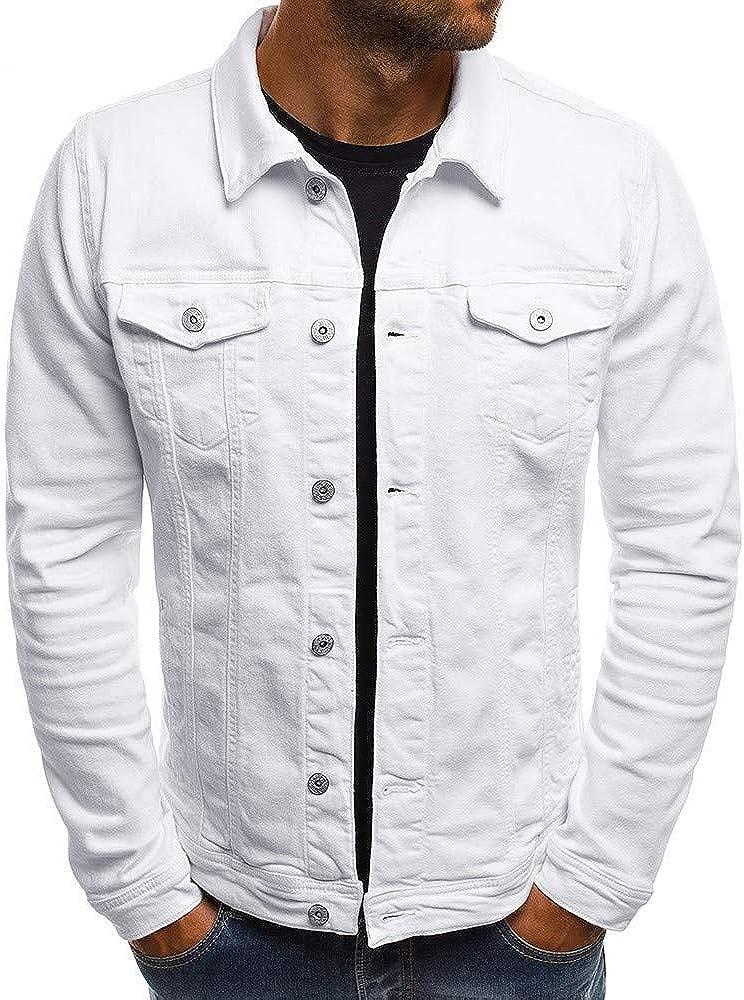 SPE969 Men's Solid Denim Jacket, Autumn Winter Button Solid Color Vintage Tops Blouse Coat