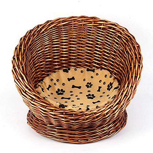 B-1 Wicker Pet Nest, Wicker Kennel Simple Cat Nest Small Animal Nest Wicker Kennel Suitable for Small Cats and Dogs Washable Four Seasons with Mat Detachable Washable Soft Cat Bed,brown