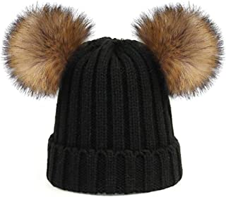 Kids Faux Raccoon Fur Ball Pompom Ears Winter Bobble Hat Knitted Double Pom Cap Kids Beanie Hat(Ages 3-12)