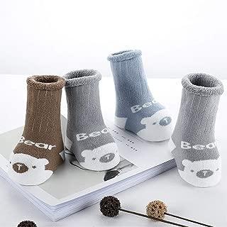 3 Pack Non Skid Baby Socks, Toddler Thick Cotton Socks Anti Slip 0-3 Years Old,Bear,Rabbit,Bear,0~1yrs