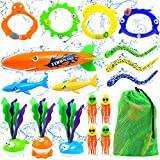 Diving Pool Toys for Kids 3-10 8-12 Summer Outdoor Water Toys Sets 18Pcs Included Pool Torpedo Diving Rings Sticks Shark Toys Storage Bag Swimming Pool Games for Toddlers Boys Girls Teens Adults