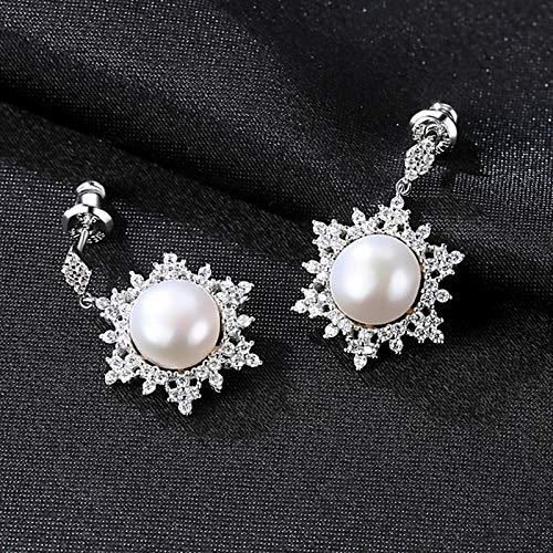 Pearl Earrings Genuine Natural Freshwater Pearl 925 Sterling Silver Stud Earrings For Women Wedding Pearl Jewelry Gifts