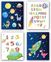 "HPNIUB Outer Space Art Prints, Set of 4 (8""X10""),Alphabet Numbers Canvas Posters,Dinosaur Wall Art Planet Rocket UFO Paint..."