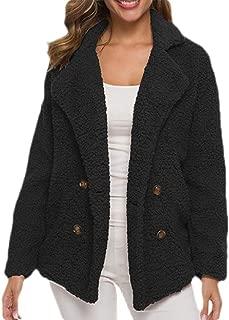 Macondoo Women Fleece Double-Breasted Warm Lapel Neck Pocket Coat Jacket